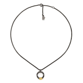 Desert Vibes Line Silver 925 Gun Plated Short Necklace-