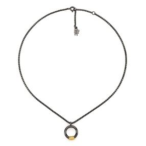 Desert Vibes Line Silver 925 Gun Plated Short Necklace-