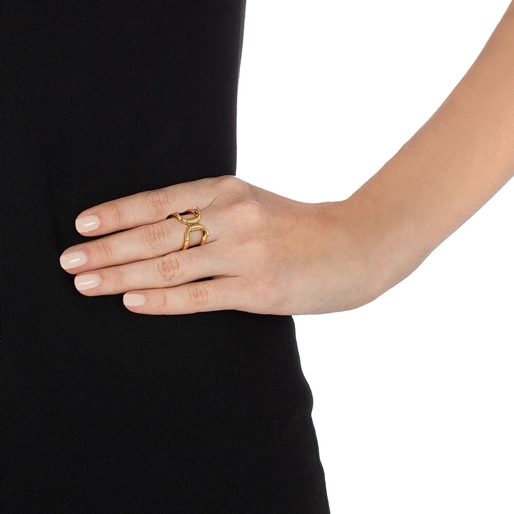 Desert Vibes Line Silver 925 18k Plated Wide Ring-