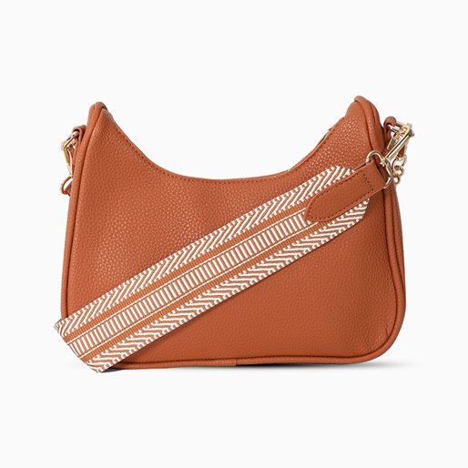 Boho Flair medium size pebbled crossbody bag with zipper -