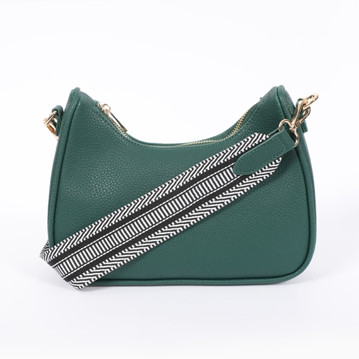 Boho Flair medium size pebbled crossbody bag with zipper-