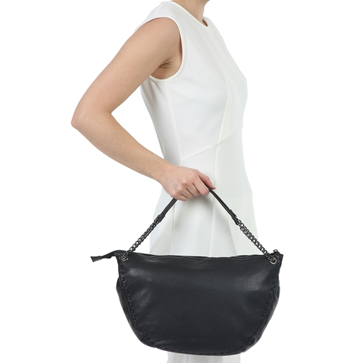 Show Girl Μεσαία Δερμάτινη Τσάντα Ώμου-