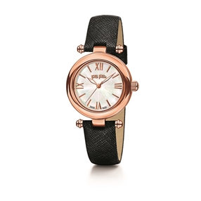 Aegean Breeze Round Case Leather Strap Watch-
