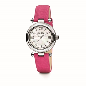 Aegean Breeze Round Case Leather Strap Watch-