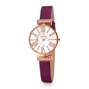 Mini Dynastry Rose Gold Plated Leather Watch-