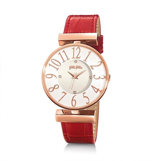 Dynasty Μεγάλη Κάσα Δερμάτινο Ρολόι-