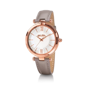 Lady Bubble Rose Gold Plated Leather Watch-