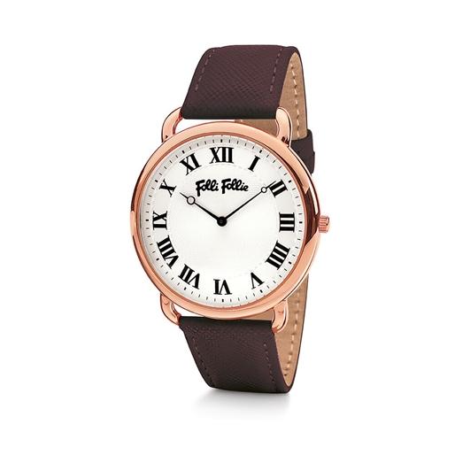Perfect Match Μεγάλη Κάσα Δερμάτινο Ρολόι-