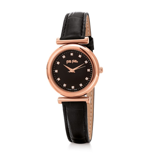 Sparkle Chic Small Case Leather Watch-