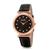 Sparkle Chic Big Case Leather Watch