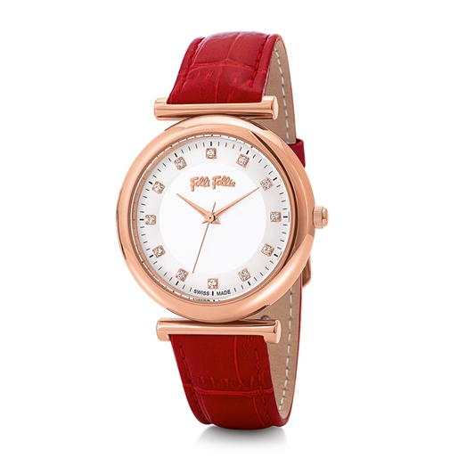 Sparkle Chic Big Case Leather Watch-