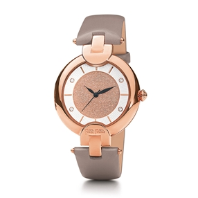 Sand Reflections Medium Case Leather Strap Watch-