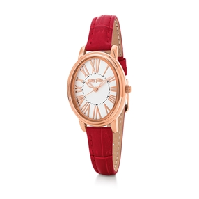 Urban Time Big Oval Case Leather Watch-