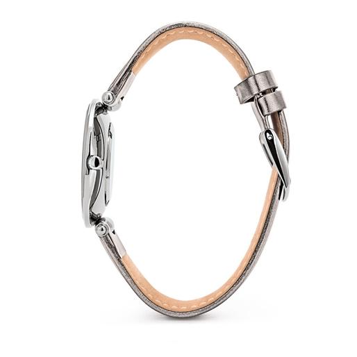 Lady Club Big Case Δερμάτινο Λουράκι Ρολόι-