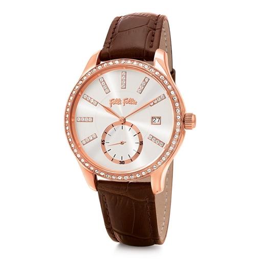 Style Bonding Μεγάλη Κάσα Με Πέτρες Δερμάτινο Ρολόι-