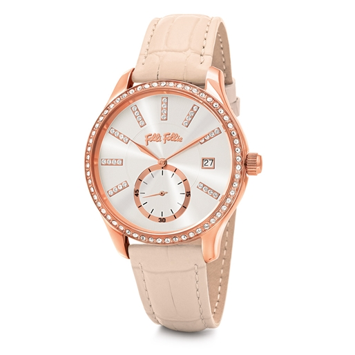 Style Bonding Big Case With Stones Leather Watch-