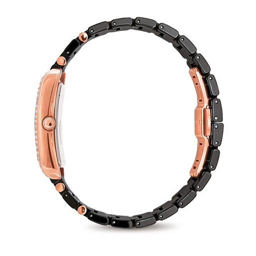Style Swing Oblong Case With Stones Ceramic Bracelet Watch -