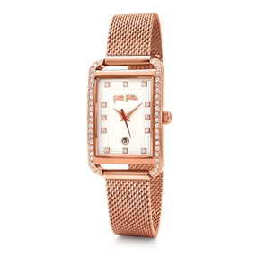 Style Swing Oblong Case With Stones Bracelet Watch-