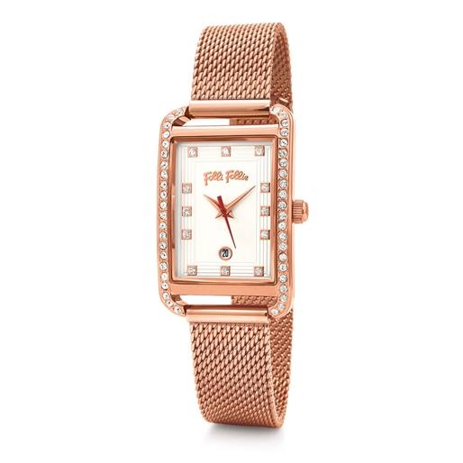 Style Swing Oblong Case With Stones Bracelet Watch -