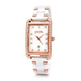 Style Swing Oblong Case With Stones Ceramic Bracelet Watch-