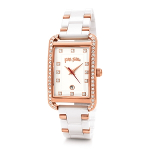 Style Swing Oblong Case With Stones Ceramic Bracelet Watch-
