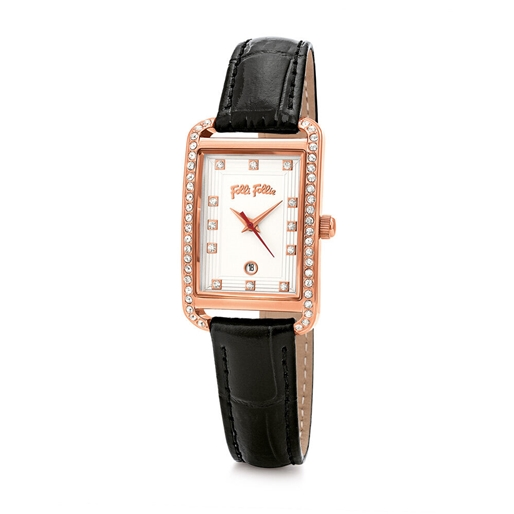 Style Swing Oblong Case With Stones Leather Watch -