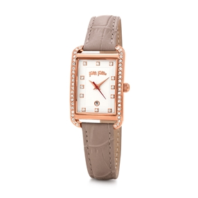 Style Swing Oblong Case With Stones Leather Watch-