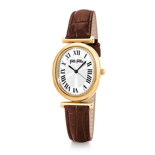Metal Chic Oval Case Leather Watch-