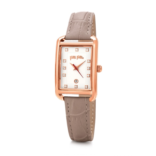 Style Swing Oblong Case Leather Watch -