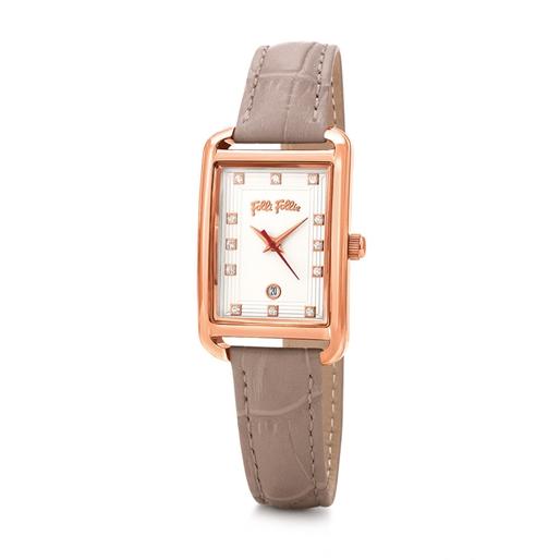 Style Swing Oblong Case Leather Watch -