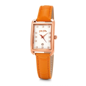 Style Swing Oblong Case Leather Watch-