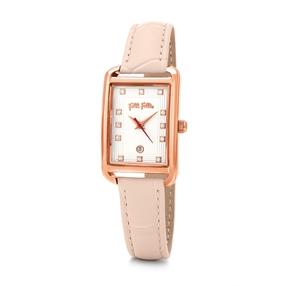 Style Swing Oblong Case Leather Watch-