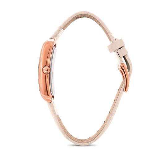 Style Swing Ορθογώνια Κάσα Δερμάτινο Ρολόι-