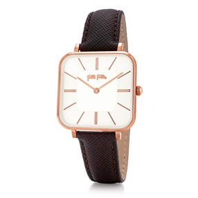 Timeless Bonds Medium Square Case Leather Watch-