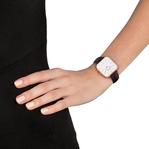 Timeless Bonds Medium Square Case Leather Watch-