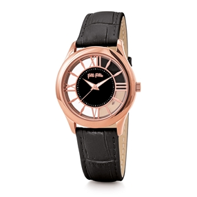 Time Illusion Medium Case Leather Watch-