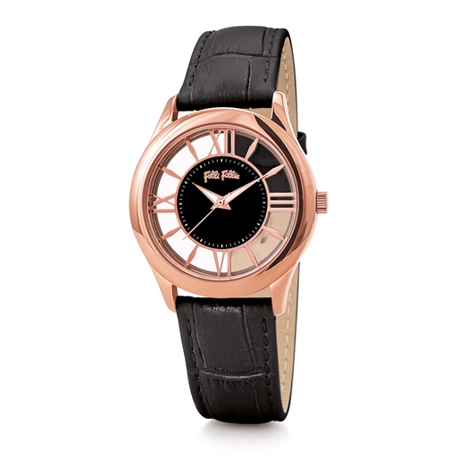 Time Illusion Medium Case Leather Watch -