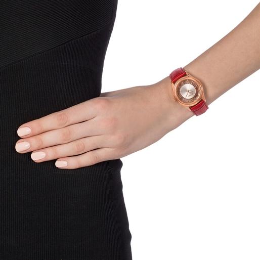 Time Illusion Medium Case Leather Watch -