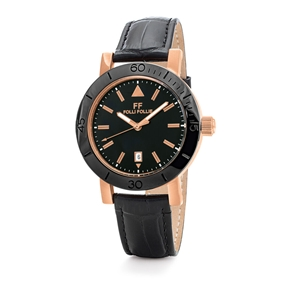 Time Framed Big Ceramic Case Leather Watch-