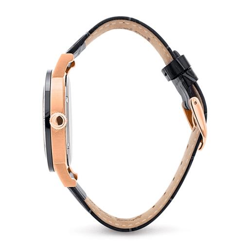Time Framed Big Ceramic Case Leather Watch -
