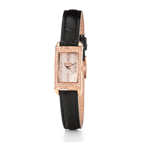 Heart4Heart Forever Oblong Case Leather Watch-