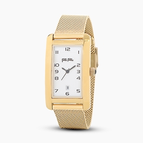 Think Tank stainless steel yellow gold plated watch with mesh bracelet-
