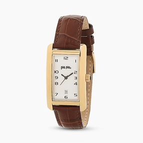 Think Tank stainless steel yellow gold plated watch with leather strap-