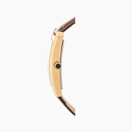 Think Tank ατσάλινο ρολόι με κίτρινη επιχρύσωση και δερμάτινο λουράκι-