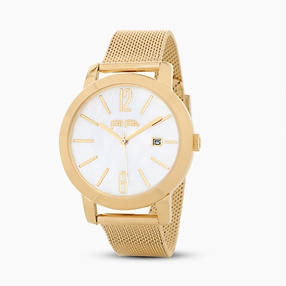 Drive Me stainless steel yellow gold plated watch with mesh bracelet-