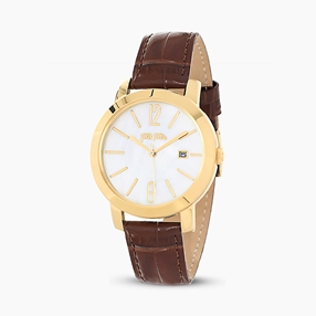 Drive Me stainless steel yellow gold plated watch with leather strap-
