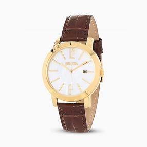 Drive Me ατσάλινο ρολόι με κίτρινη επιχρύσωση και δερμάτινο λουράκι-