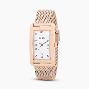 Think Tank stainless steel rose gold plated watch with mesh bracelet-