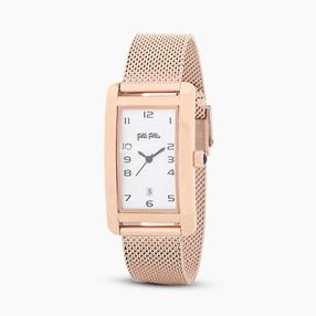 Think Tank ατσάλινο ρολόι μπρασελέ με ροζ επιχρύσωση-