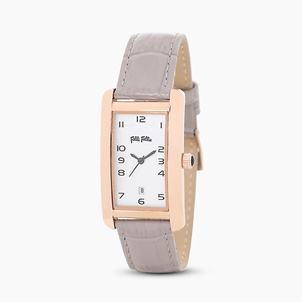 Think Tank stainless steel rose gold plated watch with leather strap-